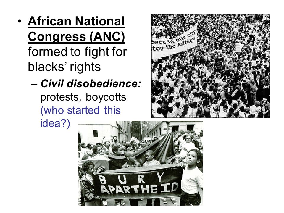 African National Congress (ANC) formed to fight for blacks' rights –Civil disobedience: protests, boycotts (who started this idea )