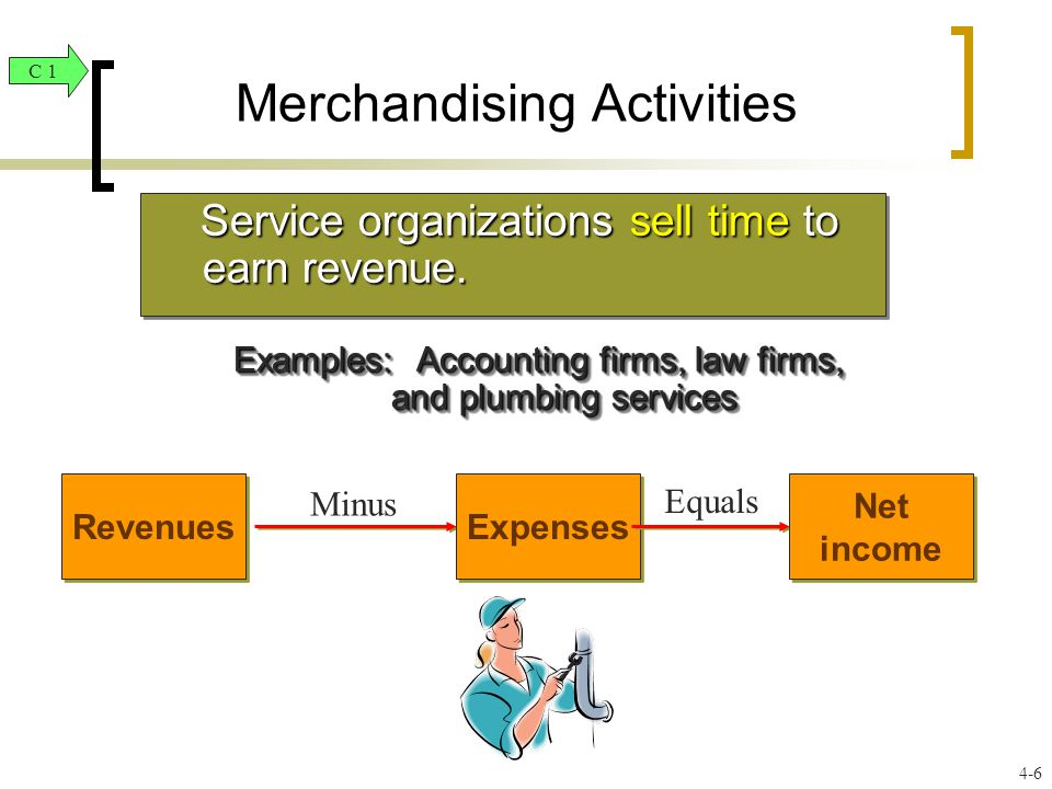 Merchandising Activities Service organizations sell time to earn revenue.