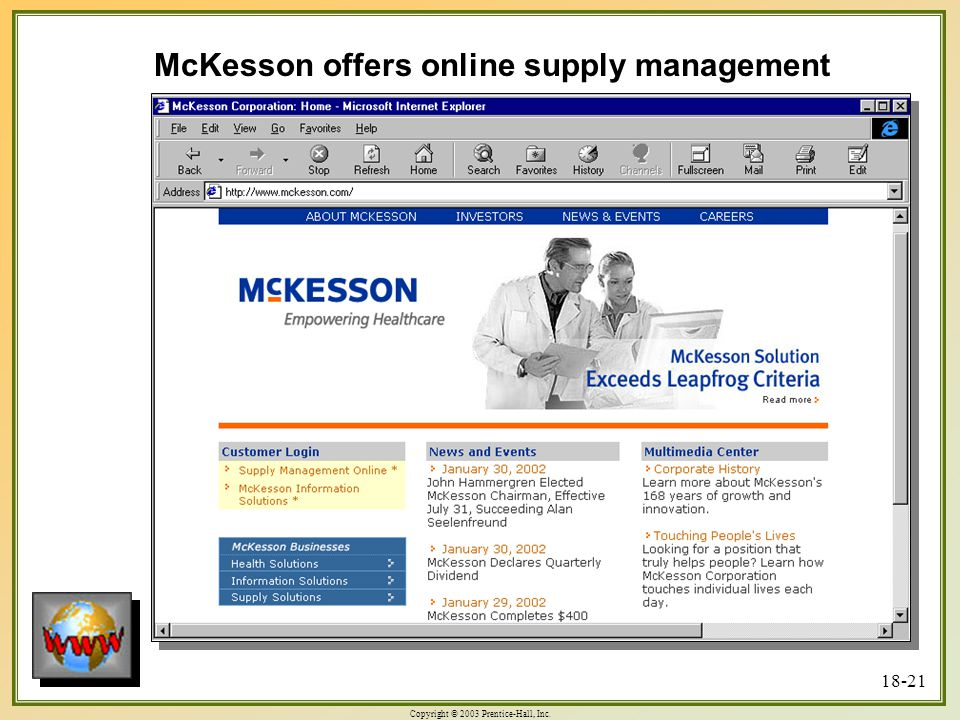 Copyright © 2003 Prentice-Hall, Inc McKesson offers online supply management