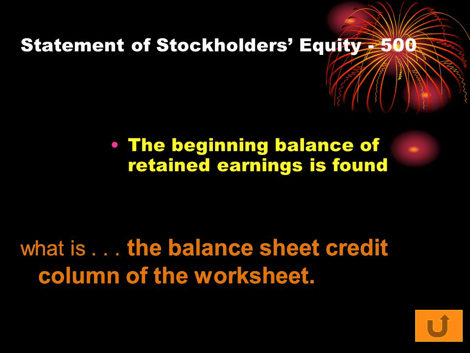 Statement of Stockholders' Equity The beginning balance of retained earnings is found what is...