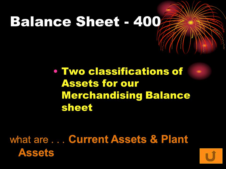Balance Sheet Two classifications of Assets for our Merchandising Balance sheet what are...