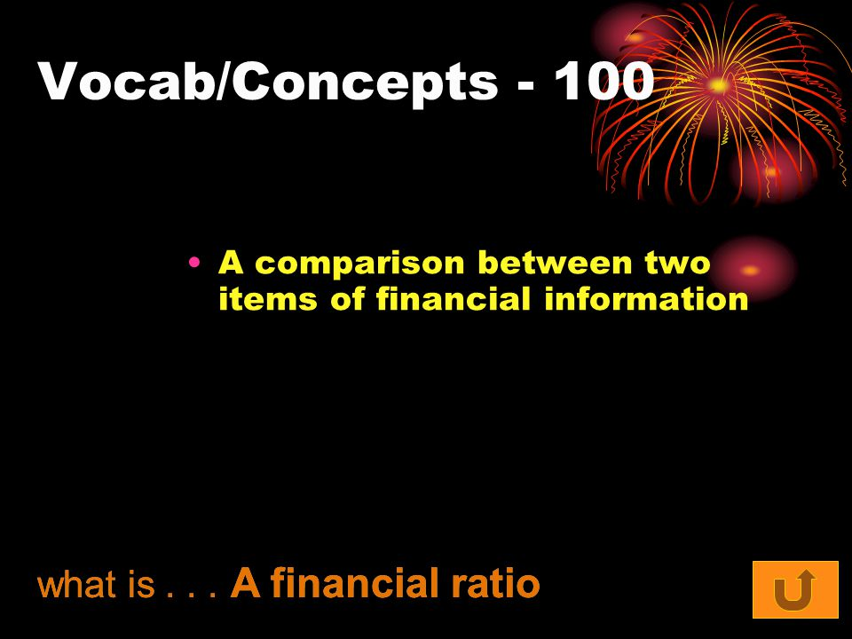 Vocab/Concepts A comparison between two items of financial information what is...