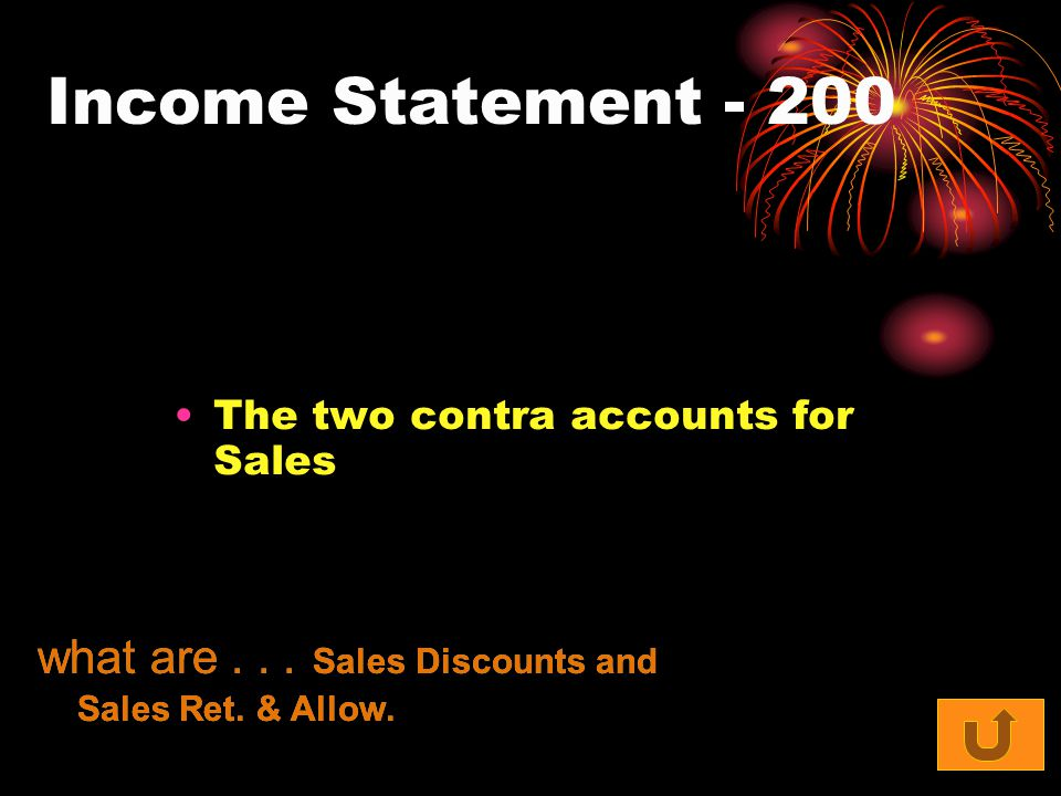 Income Statement The two contra accounts for Sales what are...