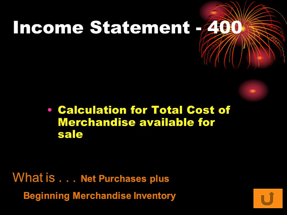 Income Statement Calculation for Total Cost of Merchandise available for sale What is...