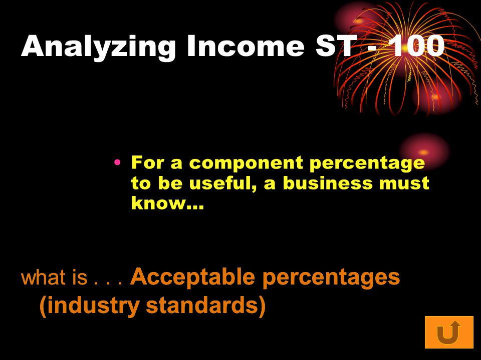 Analyzing Income ST For a component percentage to be useful, a business must know… what is...