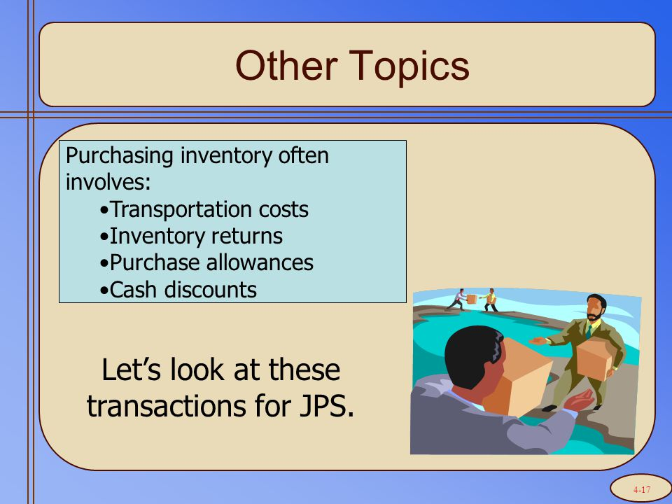 Purchasing inventory often involves: Transportation costs Inventory returns Purchase allowances Cash discounts Other Topics Let's look at these transactions for JPS.