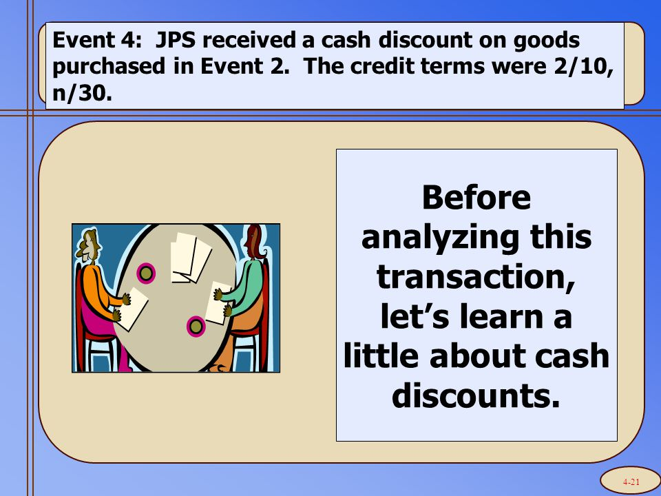 Event 4: JPS received a cash discount on goods purchased in Event 2.