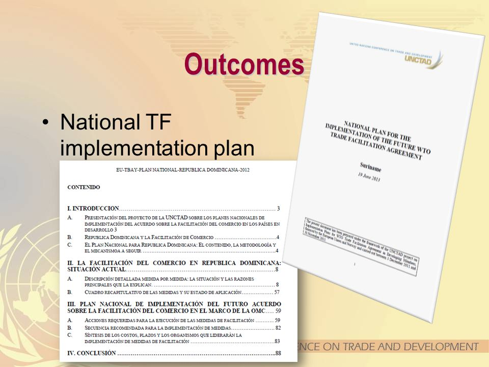 Outcomes National TF implementation plan