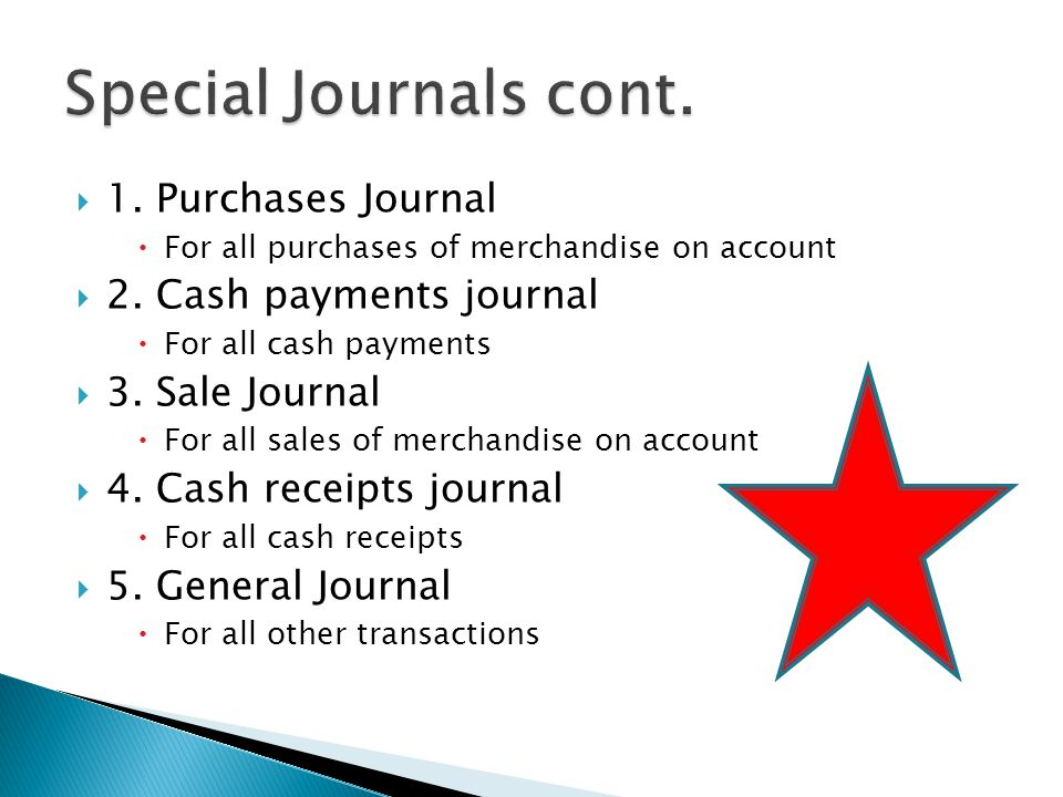  1. Purchases Journal  For all purchases of merchandise on account  2.