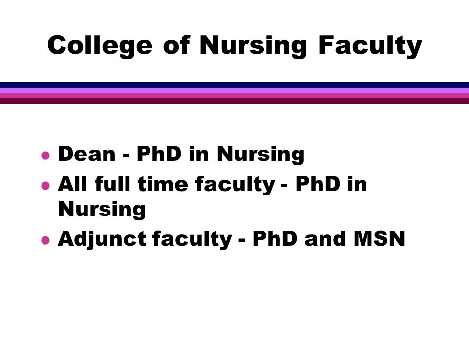 College of Nursing Faculty l Dean - PhD in Nursing l All full time faculty - PhD in Nursing l Adjunct faculty - PhD and MSN
