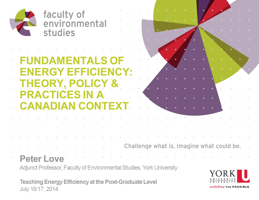 FUNDAMENTALS OF ENERGY EFFICIENCY: THEORY, POLICY & PRACTICES IN A CANADIAN CONTEXT Peter Love Adjunct Professor, Faculty of Environmental Studies, York University Teaching Energy Efficiency at the Post-Graduate Level July 16/17, 2014