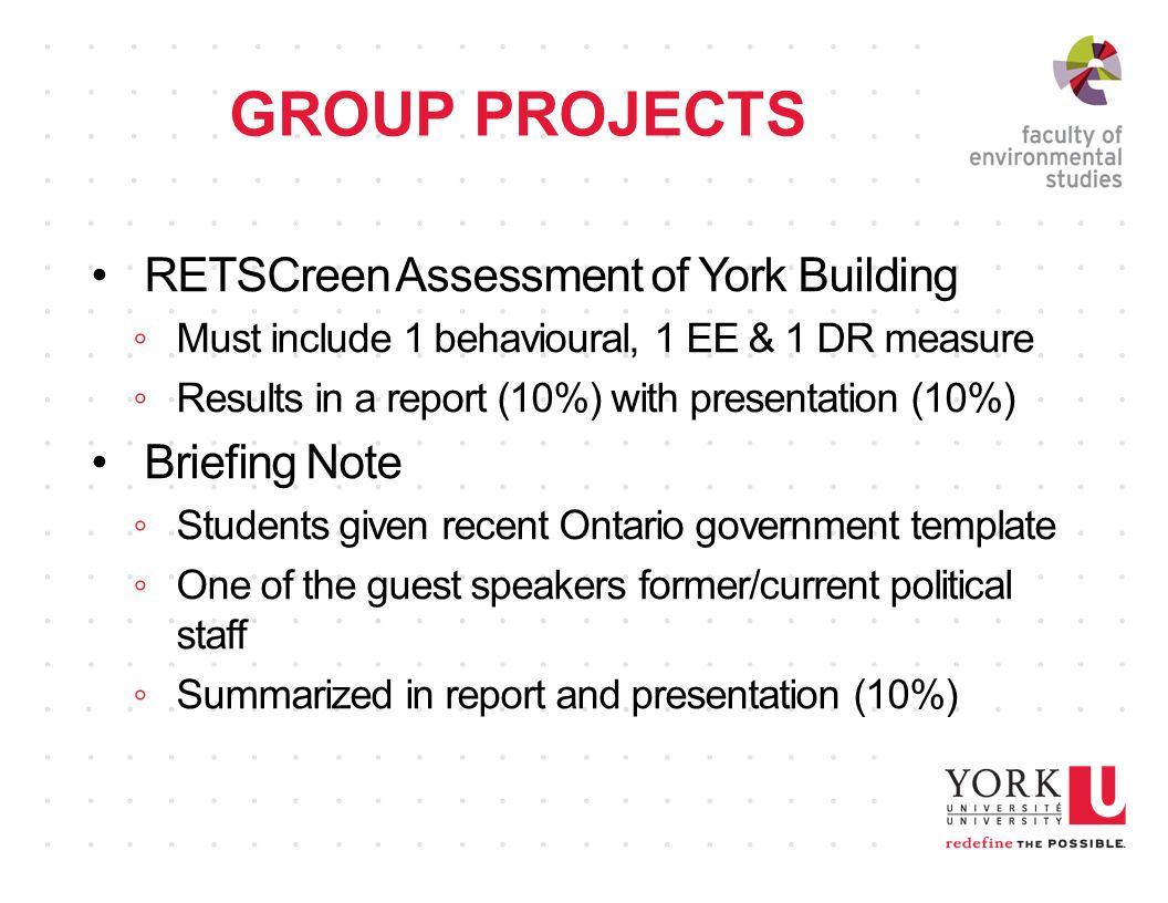 GROUP PROJECTS RETSCreen Assessment of York Building ◦Must include 1 behavioural, 1 EE & 1 DR measure ◦Results in a report (10%) with presentation (10%) Briefing Note ◦Students given recent Ontario government template ◦One of the guest speakers former/current political staff ◦Summarized in report and presentation (10%)