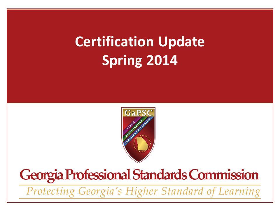 Certification Update Spring Certification Agenda Upcoming ...