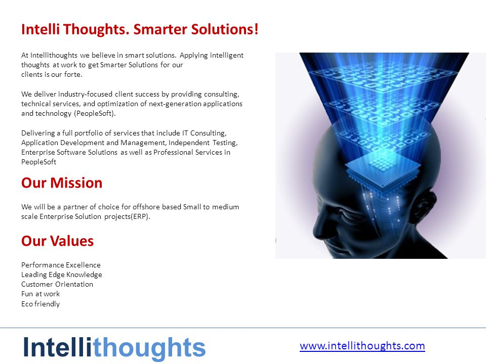 Intelli Thoughts. Smarter Solutions.