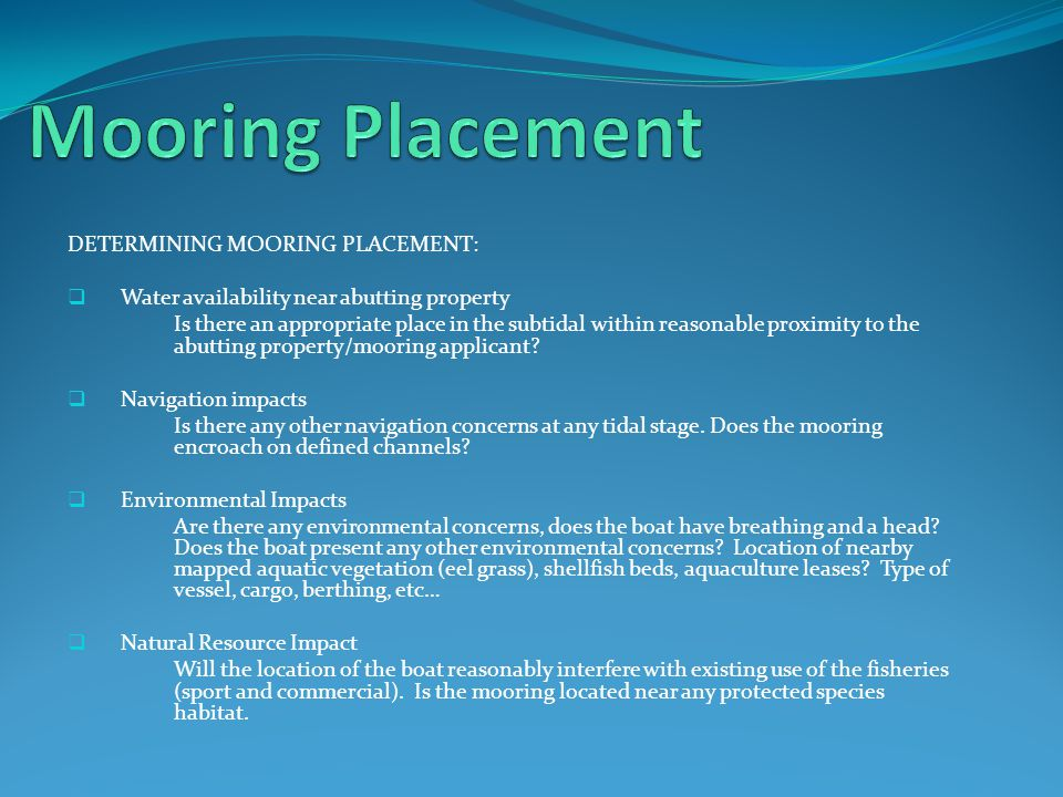Types of Moorings used along the Brunswick Coastline  - ppt download
