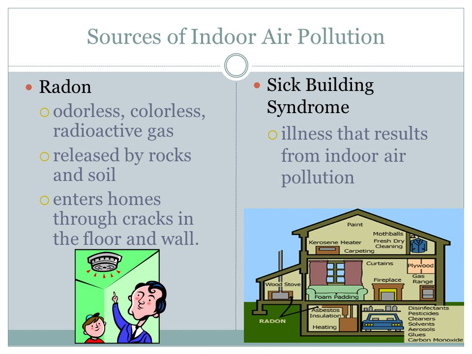 Sources of Indoor Air Pollution Radon  odorless, colorless, radioactive gas  released by rocks and soil  enters homes through cracks in the floor and wall.