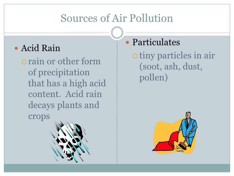 Sources of Air Pollution Acid Rain  rain or other form of precipitation that has a high acid content.