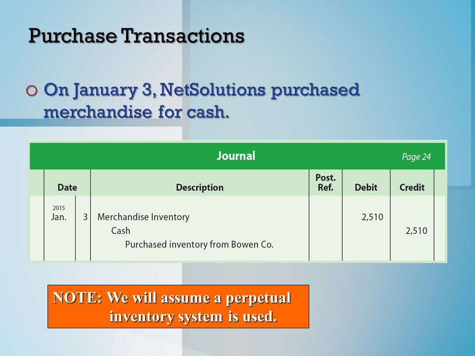 * Purchase Transactions o On January 3, NetSolutions purchased merchandise for cash.