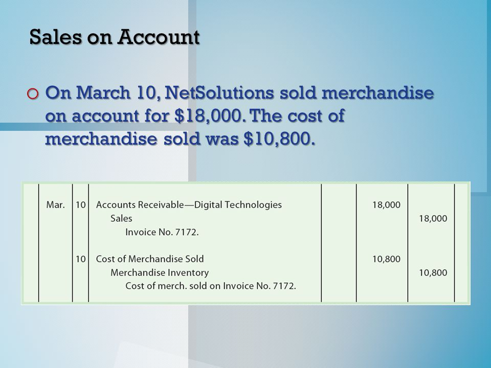 Sales on Account o On March 10, NetSolutions sold merchandise on account for $18,000.