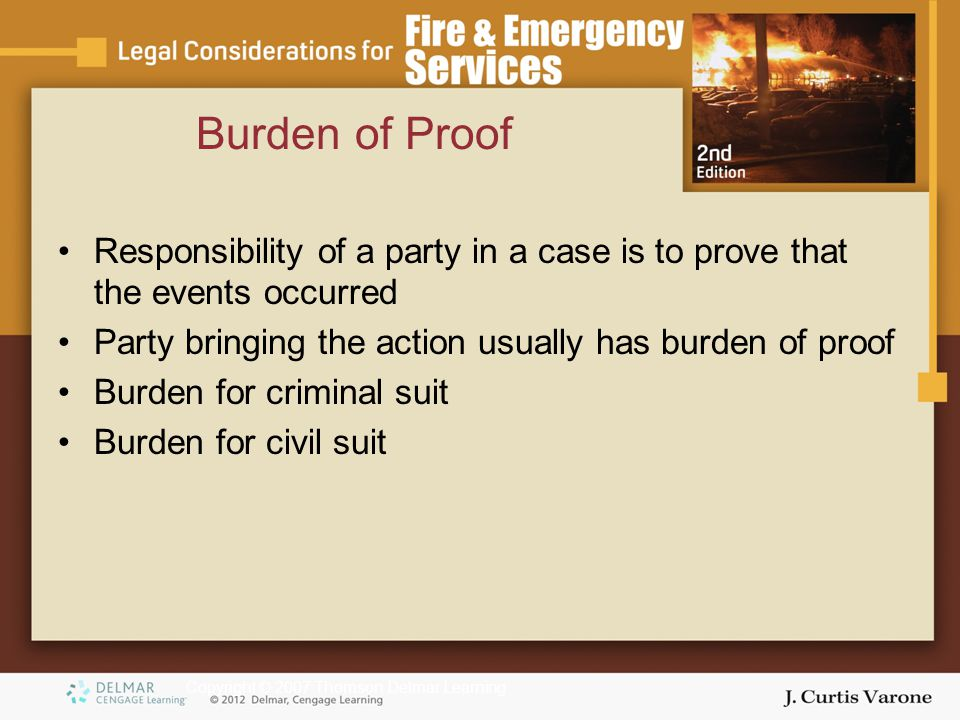 Copyright © 2007 Thomson Delmar Learning Burden of Proof Responsibility of a party in a case is to prove that the events occurred Party bringing the action usually has burden of proof Burden for criminal suit Burden for civil suit