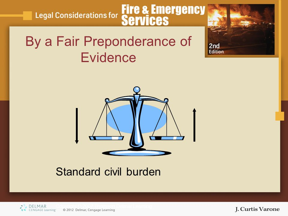Copyright © 2007 Thomson Delmar Learning By a Fair Preponderance of Evidence Standard civil burden