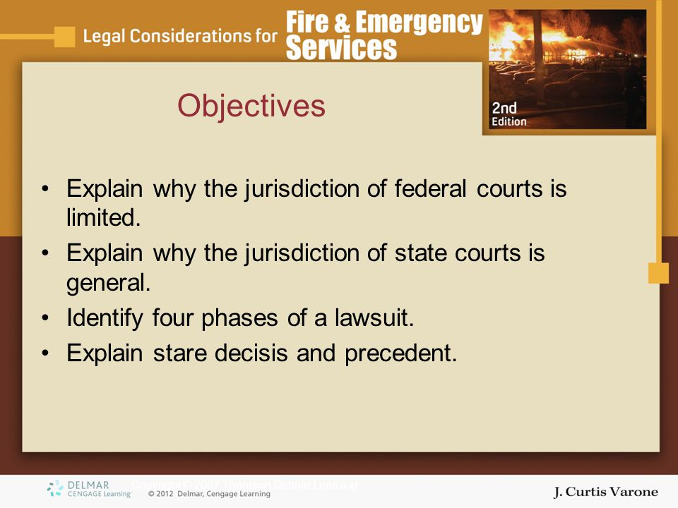 Copyright © 2007 Thomson Delmar Learning Explain why the jurisdiction of federal courts is limited.