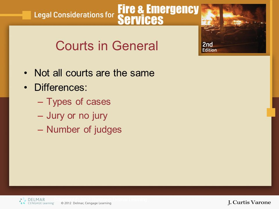Copyright © 2007 Thomson Delmar Learning Courts in General Not all courts are the same Differences: –Types of cases –Jury or no jury –Number of judges
