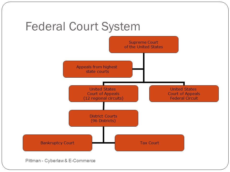 Federal Court System Pittman - Cyberlaw & E-Commerce 12 Supreme Court of the United States United States Court of Appeals (12 regional circuits) District Courts (96 Districts) Bankruptcy CourtTax Court United States Court of Appeals Federal Circuit Appeals from highest state courts