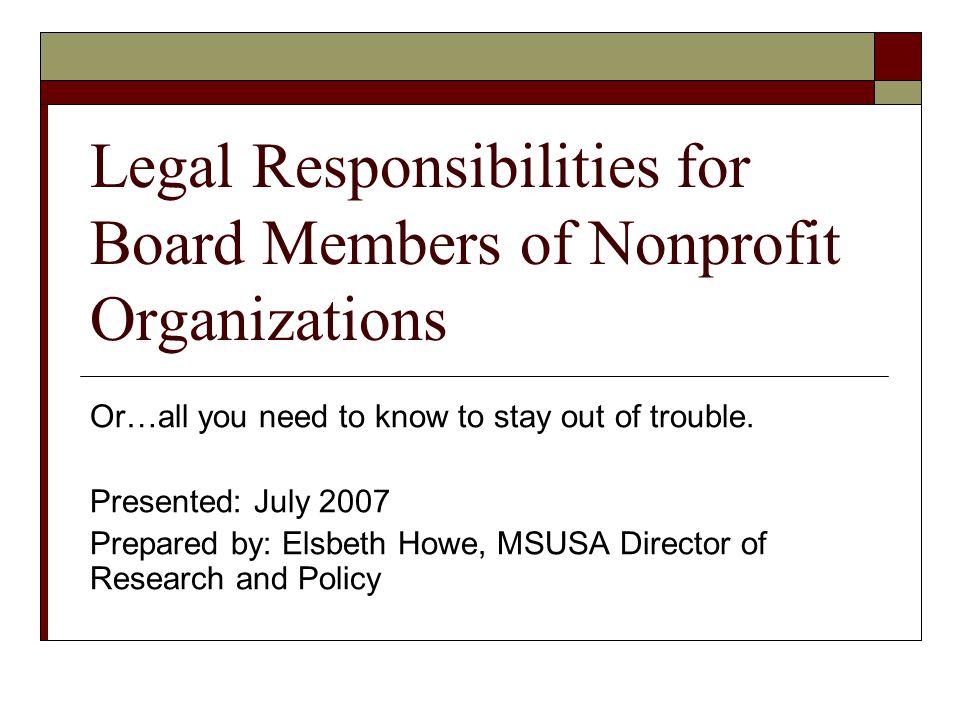 Legal Responsibilities for Board Members of Nonprofit