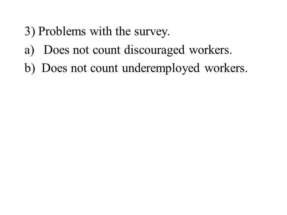 3) Problems with the survey. a)Does not count discouraged workers.