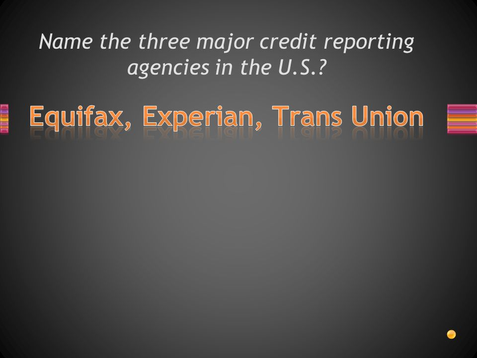 Name the three major credit reporting agencies in the U.S.
