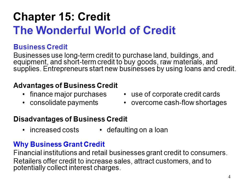 1 chapter 15 credit the wonderful world of credit what is credit 4 chapter 15 credit the wonderful world of credit business credit businesses use long reheart Choice Image
