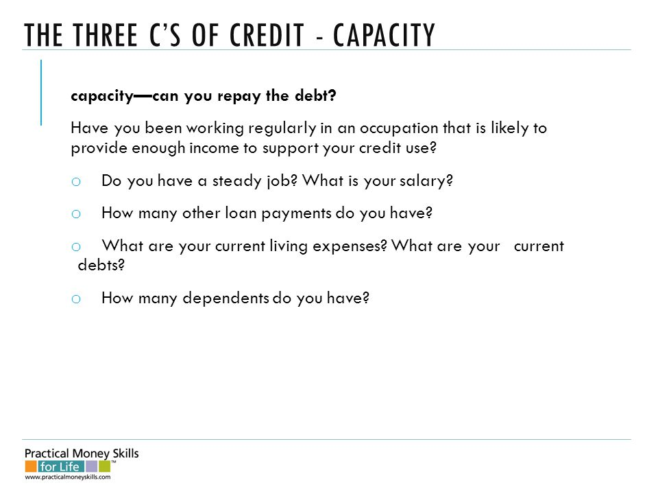 THE THREE C'S OF CREDIT - CAPACITY capacity—can you repay the debt.