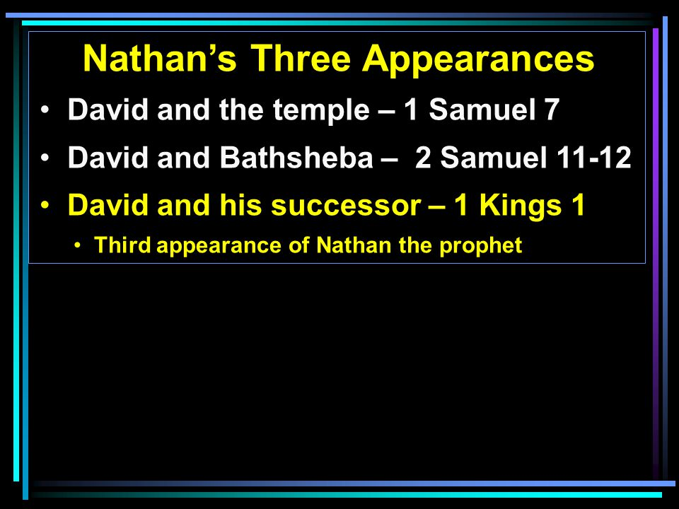 Nathan's Three Appearances David and the temple – 1 Samuel 7 David and Bathsheba – 2 Samuel David and his successor – 1 Kings 1 Third appearance of Nathan the prophet