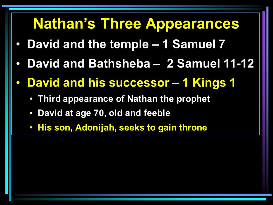 Nathan's Three Appearances David and the temple – 1 Samuel 7 David and Bathsheba – 2 Samuel David and his successor – 1 Kings 1 Third appearance of Nathan the prophet David at age 70, old and feeble His son, Adonijah, seeks to gain throne