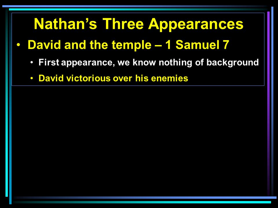 Nathan's Three Appearances David and the temple – 1 Samuel 7 First appearance, we know nothing of background David victorious over his enemies