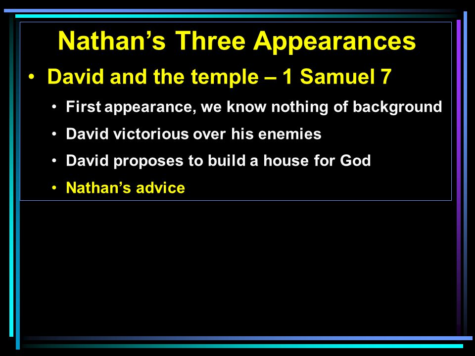 Nathan's Three Appearances David and the temple – 1 Samuel 7 First appearance, we know nothing of background David victorious over his enemies David proposes to build a house for God Nathan's advice