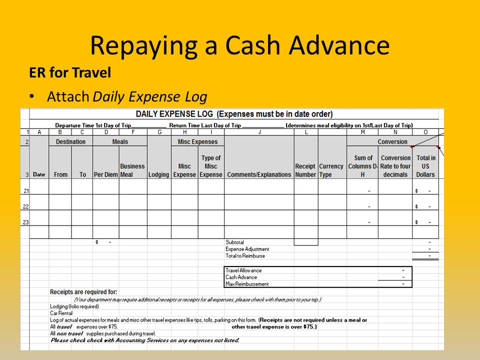 Repaying a Cash Advance ER for Travel Attach Daily Expense Log