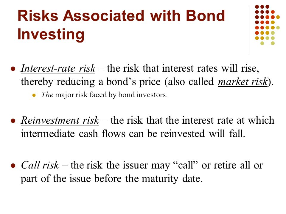 Risks Associated with Bond Investing Interest-rate risk – the risk that interest rates will rise, thereby reducing a bond's price (also called market risk).