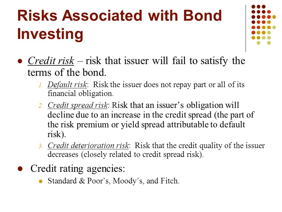 Risks Associated with Bond Investing Credit risk – risk that issuer will fail to satisfy the terms of the bond.