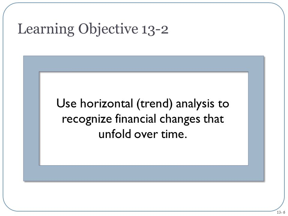 13- 6 Learning Objective 13-2 Use horizontal (trend) analysis to recognize financial changes that unfold over time.