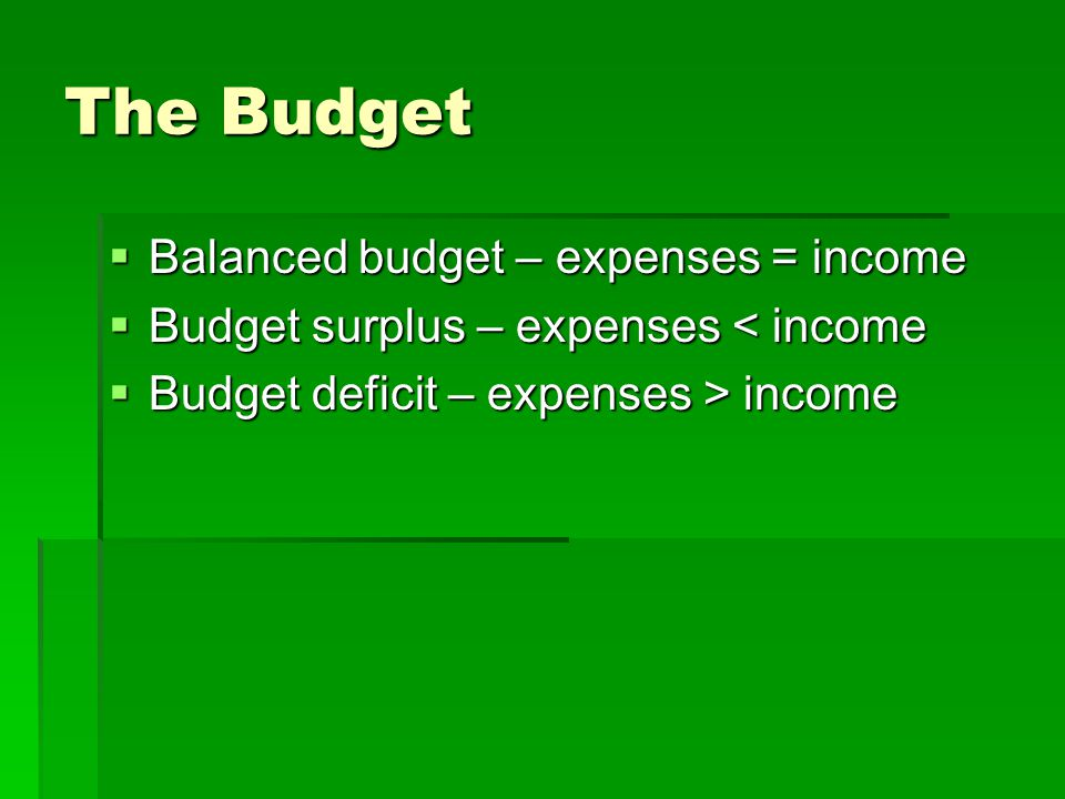 The Budget  Balanced budget – expenses = income  Budget surplus – expenses < income  Budget deficit – expenses > income