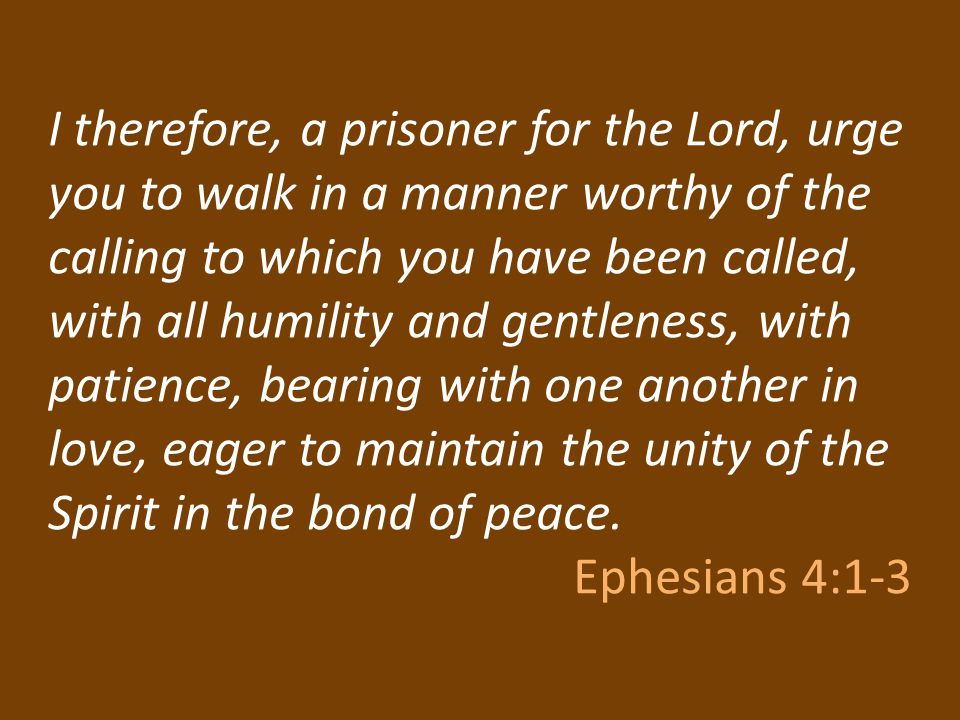 I therefore, a prisoner for the Lord, urge you to walk in a manner worthy of the calling to which you have been called, with all humility and gentleness, with patience, bearing with one another in love, eager to maintain the unity of the Spirit in the bond of peace.