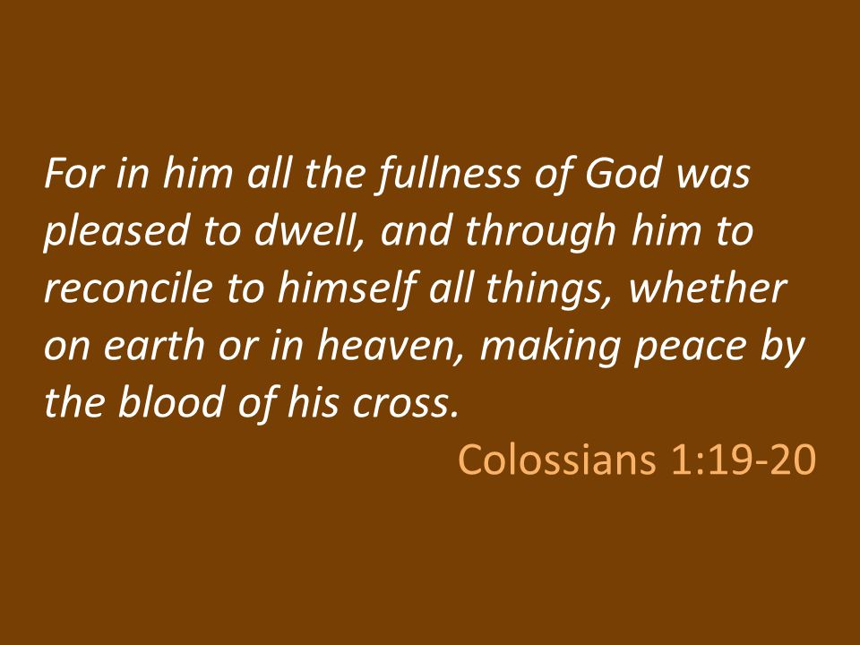 For in him all the fullness of God was pleased to dwell, and through him to reconcile to himself all things, whether on earth or in heaven, making peace by the blood of his cross.