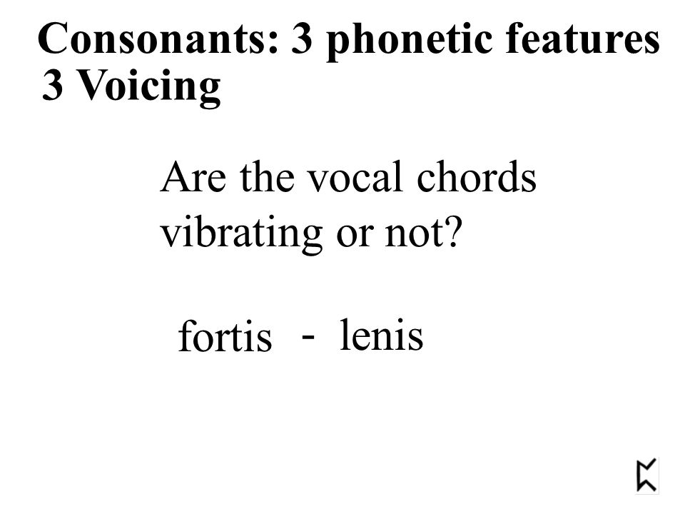 3 Voicing Consonants: 3 phonetic features Are the vocal chords vibrating or not fortis lenis -