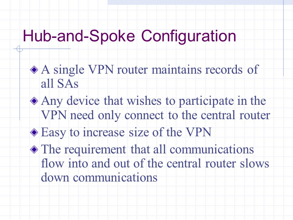 Hub-and-Spoke Configuration A single VPN router maintains records of all SAs Any device that wishes to participate in the VPN need only connect to the central router Easy to increase size of the VPN The requirement that all communications flow into and out of the central router slows down communications