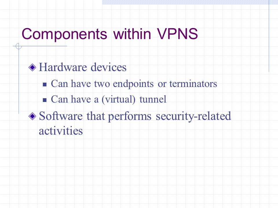 Components within VPNS Hardware devices Can have two endpoints or terminators Can have a (virtual) tunnel Software that performs security-related activities