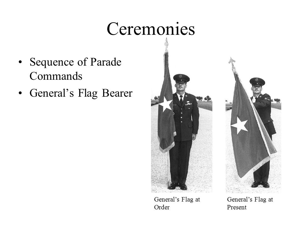 Ceremonies Sequence of Parade Commands General's Flag Bearer General's Flag at Order General's Flag at Present