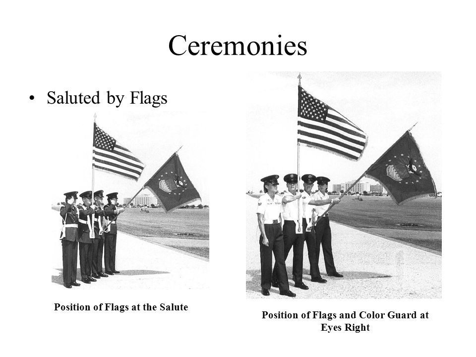 Ceremonies Saluted by Flags Position of Flags at the Salute Position of Flags and Color Guard at Eyes Right