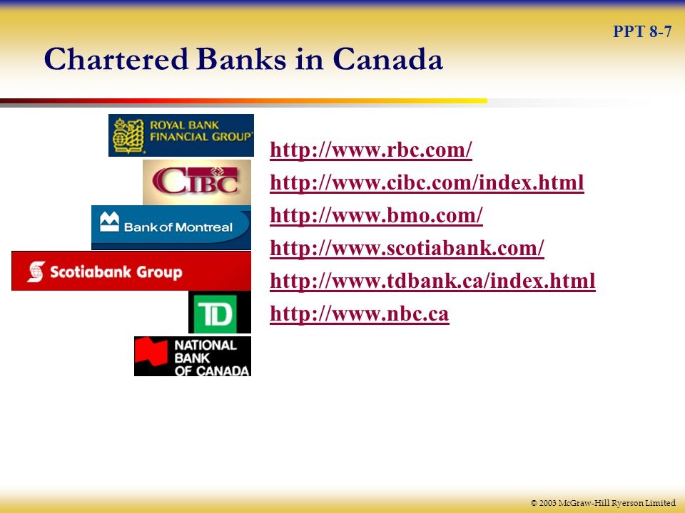 © 2003 McGraw-Hill Ryerson Limited Chartered Banks in Canada PPT 8-7